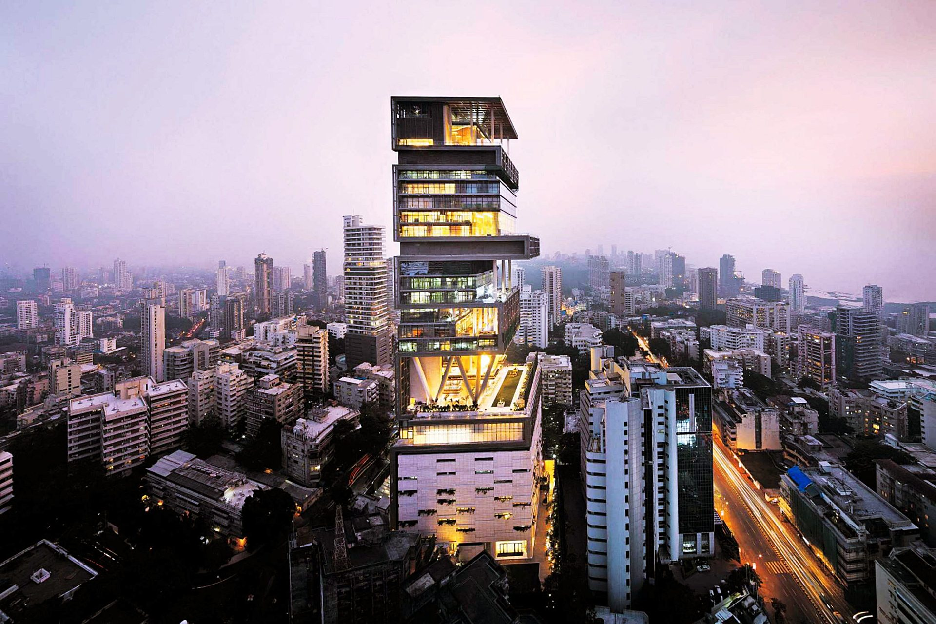 Antilia (Building) Night View - Most Expensive House In India Wallpaper
